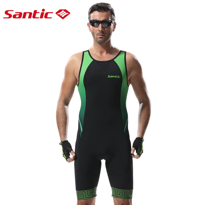 Santic Men Triathlon Cycling Jersey Italy Imported Quick Dry Breathable Tight Suit Cycling Mens Road MTB Bike Sleeveless Suit