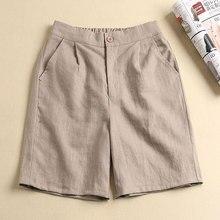 Coréen été femmes genou longueur large jambe pantalon taille élastique décontracté solide coton lin pantalon dames pantalon grande taille D62