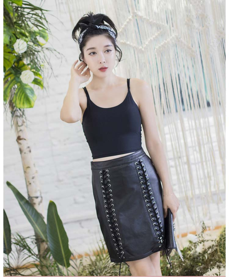 new spring 2019 woman's genuine real sheepskin leather skirt lace-up straight sexy lady's summer clothing black plus size xxxl