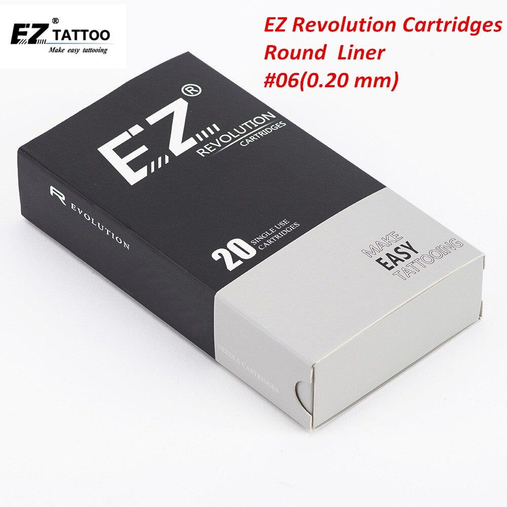 Cartucho para tatuar agujas EZ Revolution #06 delineador redondo de 0,20mm para tatuaje y Microblading maquillaje para cejas permanente delineador de ojos 20 piezas