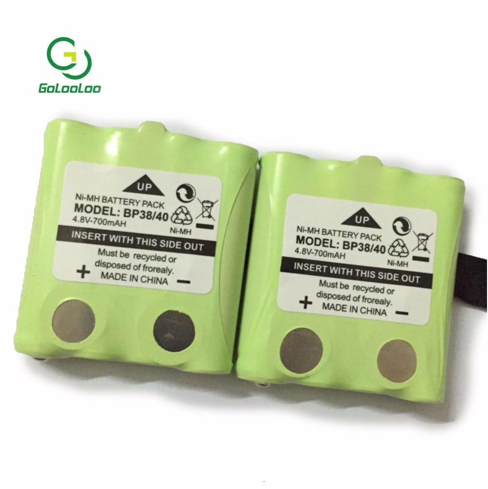 2 unids/lote 4,8 V 700MAH Ni-MH pack de batería recargable para la enciclopedia BP-38 BP-40 BT-1013 BT-537 GMR FRS 2Way baterías de Radio batteria
