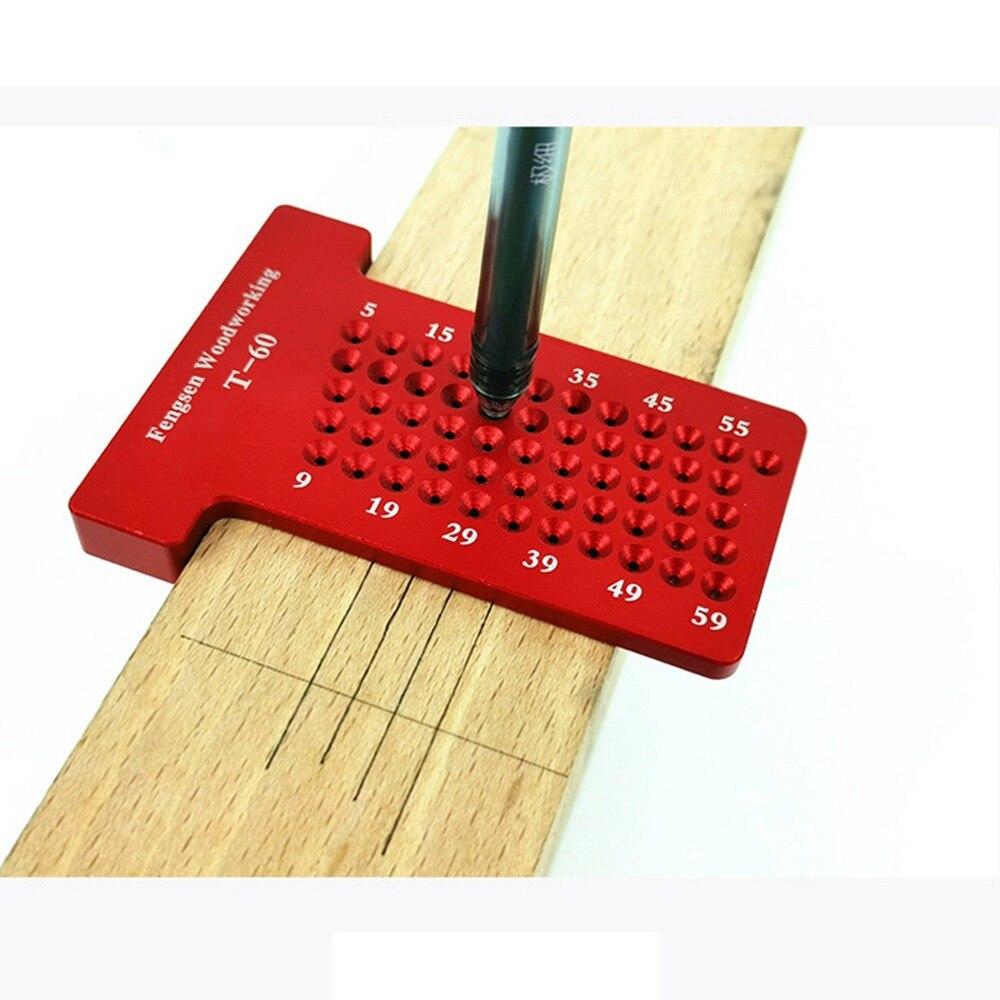 Manómetro de escritura de aleación de aluminio con regla de carpintería en forma de T para carpinteros, regla de posicionamiento de agujeros portátil, herramientas de medición