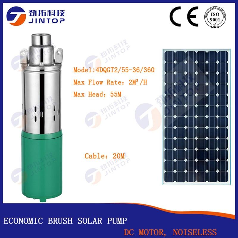 JINTOP-مضخة مياه غاطسة عميقة تعمل بالطاقة الشمسية ، 36 فولت تيار مستمر ، 4DQGT2/55-36/360