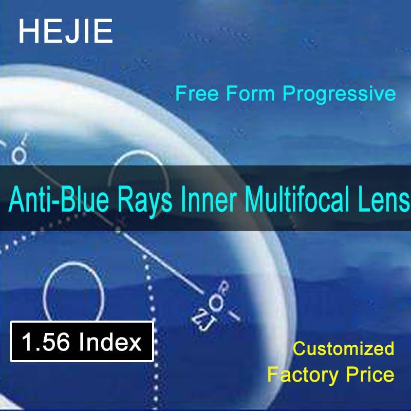 1.56 Index Anti Blue Rays Free Form Inner Multifocal Progressive Lenses Anti-fatigue Anti-glare Prescription Customized