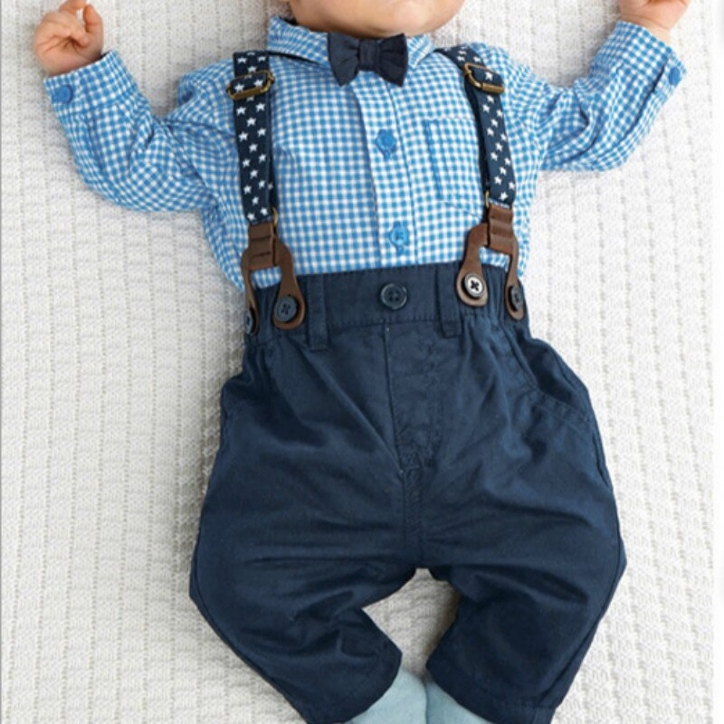 Trajes de bebé otoño camisa a cuadros pantalones con tirantes trajes formales de boda