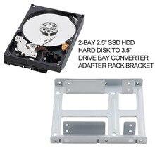 "Alüminyum 2-Bay 2.5 ""SSD HDD Sabit Disk 3.5 INÇ Sürücü Bay Dönüştürücü Adaptör Raf Bracket Ile 12 Vidalar"