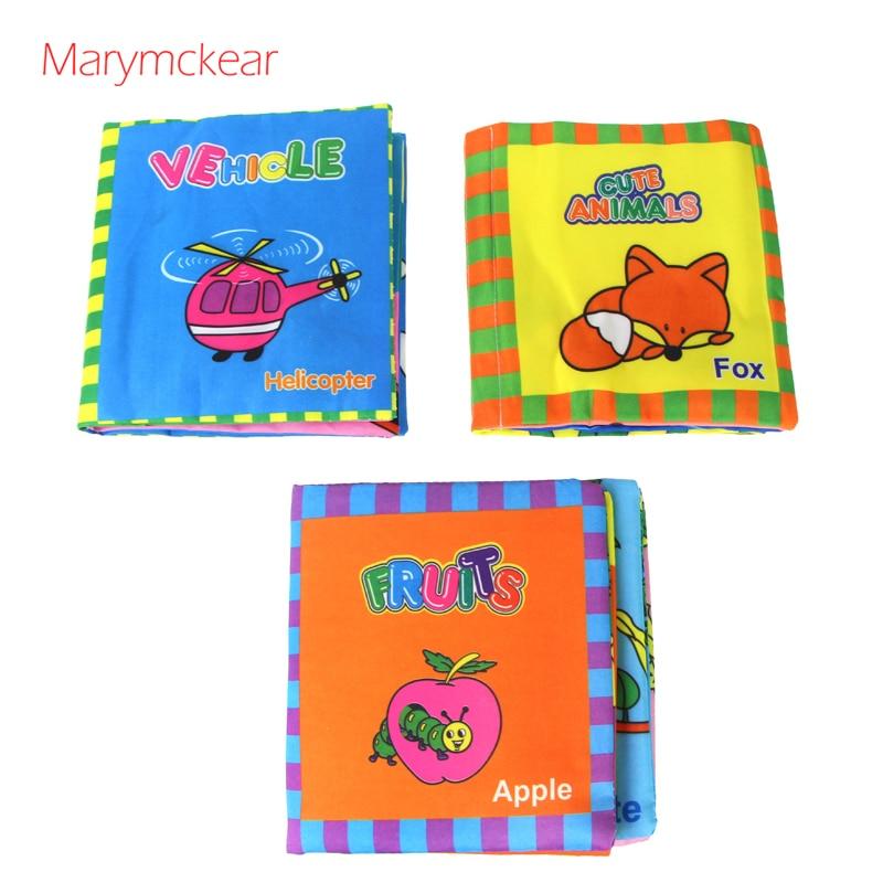 Livro de tecido, 1 un., livro de pano, brinquedo educativo, livro sensorial 14x16cm, livro infantil de pano, animal de aprendizagem/frutas & veículo