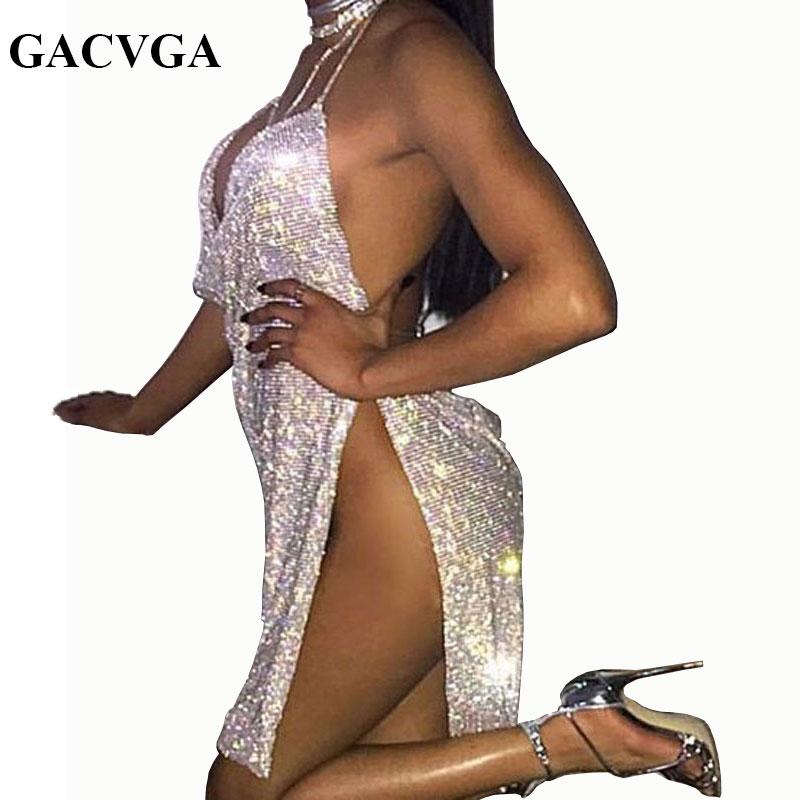 GACVGA 2020 летнее платье с кристаллами и стразами, Сексуальные вечерние платья, женское винтажное пляжное платье с лямкой на шее, Vestido
