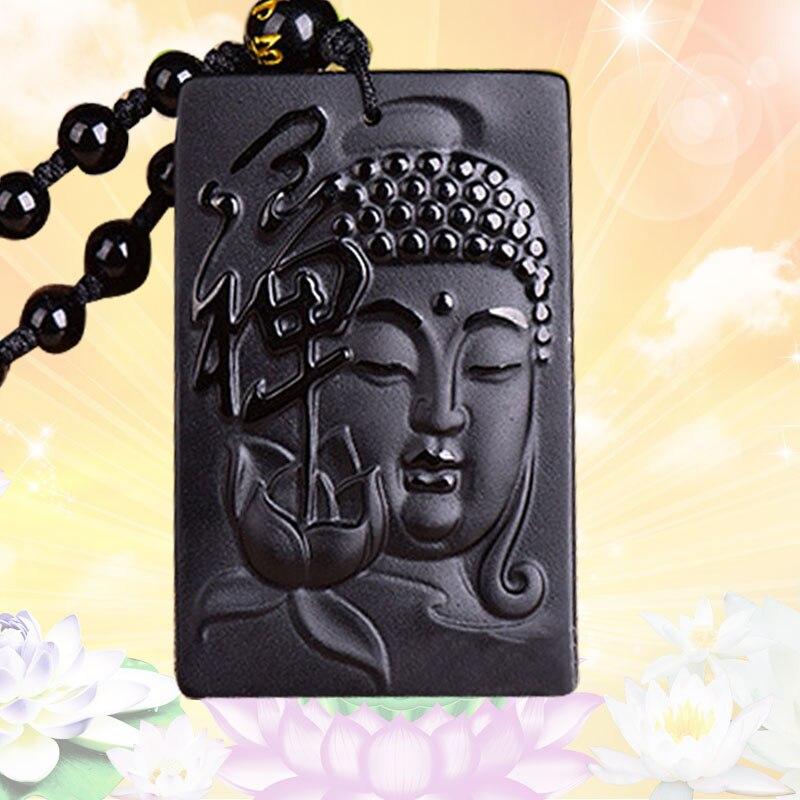 Moda Zen Buddha dragón obsidiano Phoenix colgante cuentas collar encanto joyería accesorios mano tallada amuleto de la suerte regalos