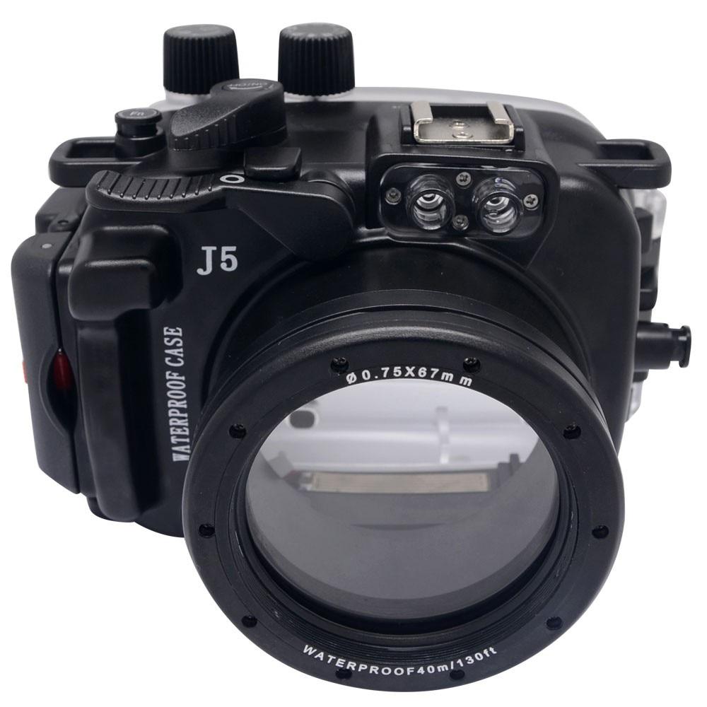 Mcoplus 40 متر/130ft للماء (IPX8) كاميرا تحت الماء الإسكان للماء حالة حقيبة لنيكون J5 10-30 ملليمتر لين