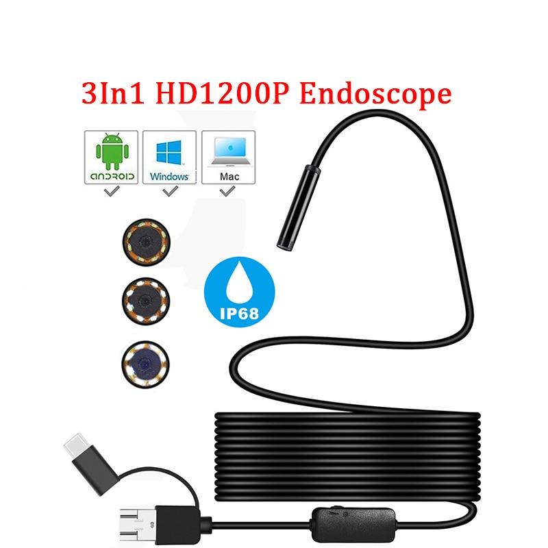1200P TYPE-C Android Micro/cámara endoscopio USB Semi rígido tubo serpiente inspección por boroscopio cámaras 8MM Len 1/2/5M para Android PC