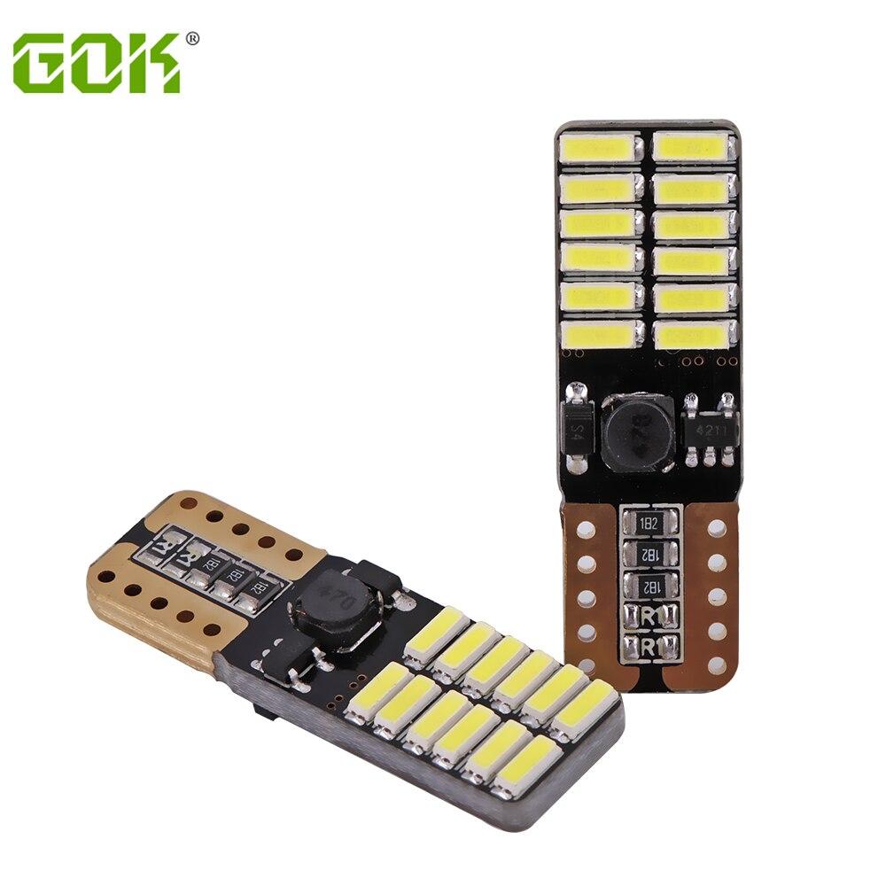 10pcs/lot T10 bulb led 194 T10 led canbus t10 24SMD 4014 LED car signal light canbus error free led parking car styling Fog lamp