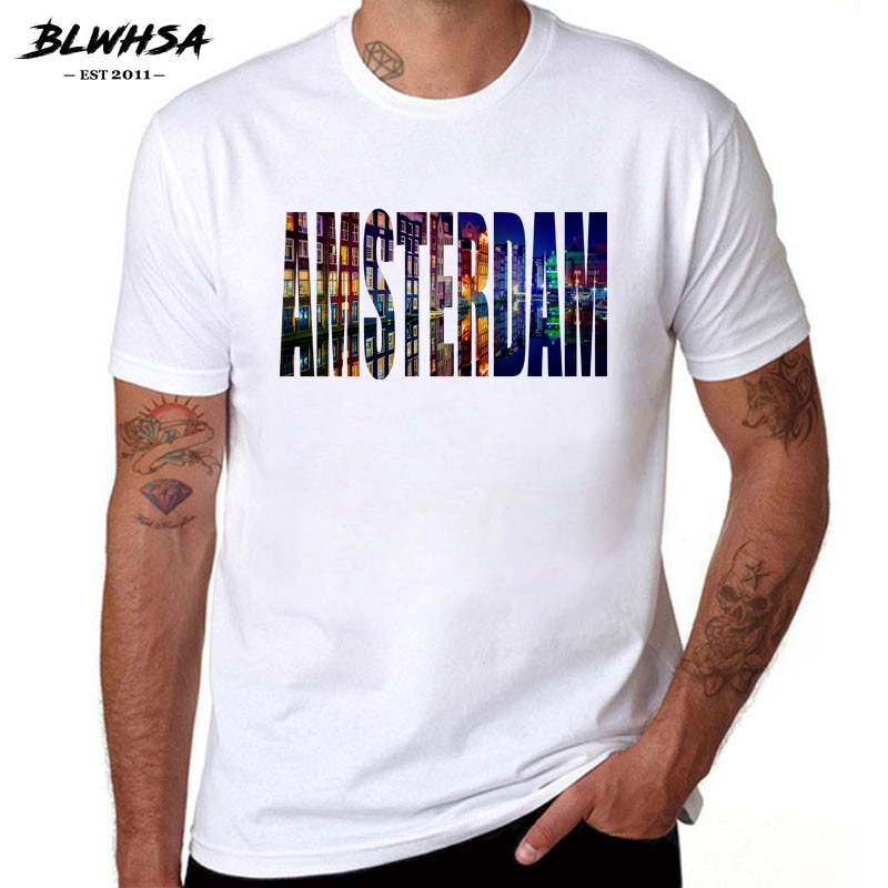 BLWHSA camiseta de verano de algodón de manga corta de moda para...