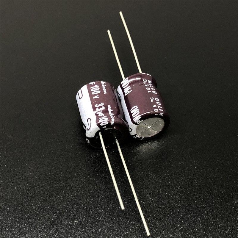 10pcs/100pcs 33uF 100V NICHICON PW Series 10x12.5mm Low Impedance Long Life 100V33uF Aluminum Electrolytic capacitor