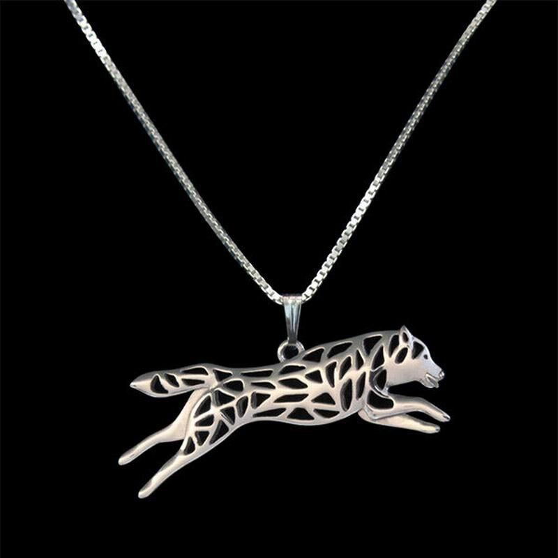 Gran oferta 2019 de collares de Husky Siberiano para mujer, colgante de perro plateado para correr, collares para parejas, envío directo