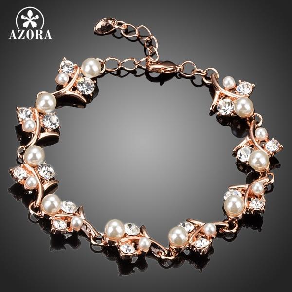 Azora precioso color oro rosa claro CZ con pulsera de perlas de flores TS0061