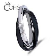 Женское керамическое кольцо, черное, белое, двойное, из нержавеющей стали, уникальный дизайн