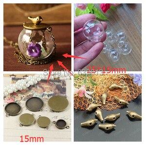 SALE Free ship!!! 50sets/lot 25x15mm(opening) glass globe with base with bird set glass bottle glass dome cover vials pendant