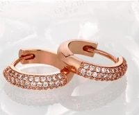 double row cubic zircon solid rose gold filled womens hoop earrings pretty gift
