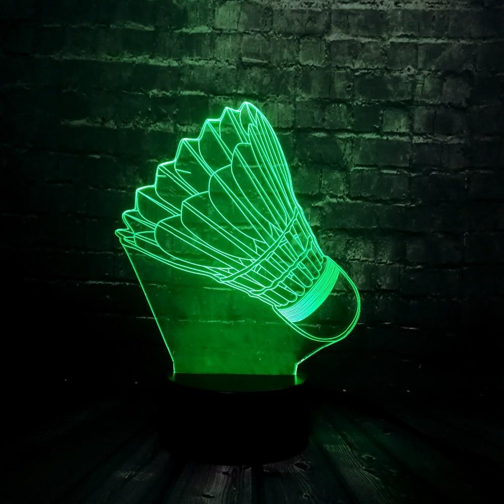 Nueva ilusión 3D Sporting Badminton LED 7 cambio de Color lustre remoto USB Decoración de mesa de habitación lámpara de Noche de Ambiente vacaciones amigos regalo