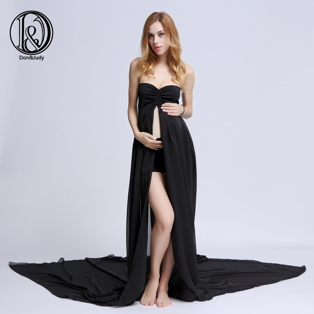 Soft Maternity Dresses for Photo Shoot Long Train Pregnancy Gown Split Front Chiffon Women Photography Clothing with Shorts enlarge