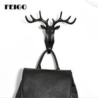 fiego 1pc deer head seamless hook clothes towel bag key hook kitchen bathroom living room stereo wall decoration glue hook f418