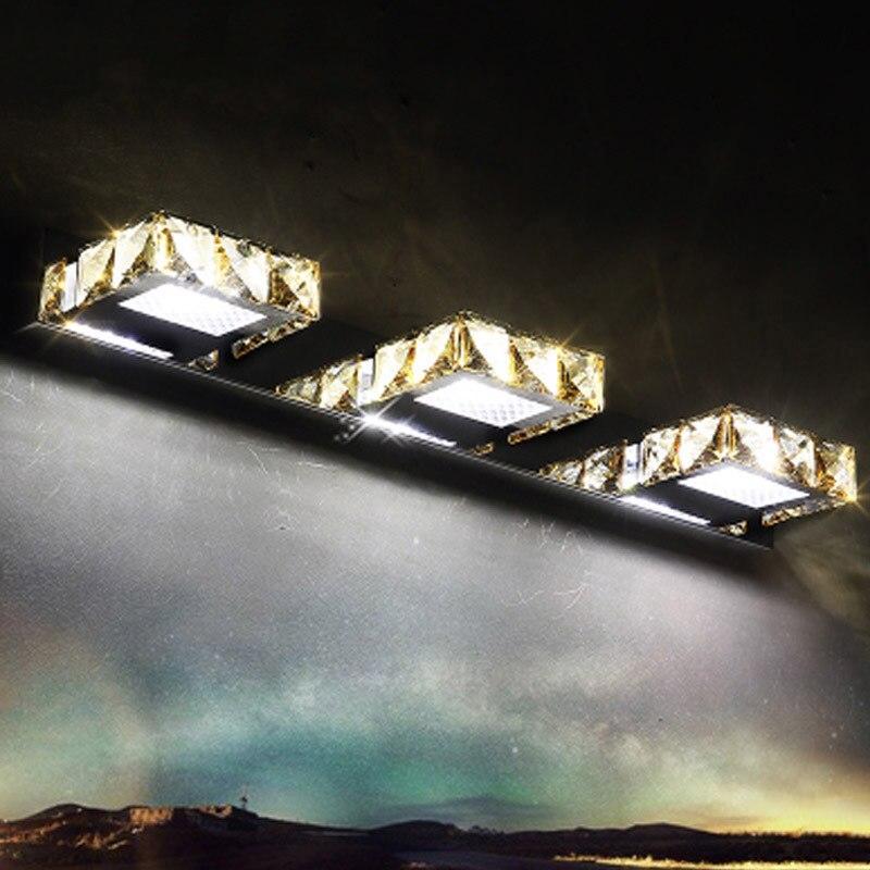 مصباح LED لمرآة الحمام ، كريستال مقاوم للماء ، بسيط ، حديث ، مصباح داخلي من الفولاذ المقاوم للصدأ ، مصباح مكياج شفاف ولون كهرماني