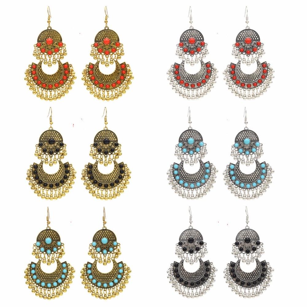 Цыганские в стиле бохо длинные кисточки серьги для женщин турецкое этническое золотое украшение из бисера бахрома серьги болтаются Индия, ...