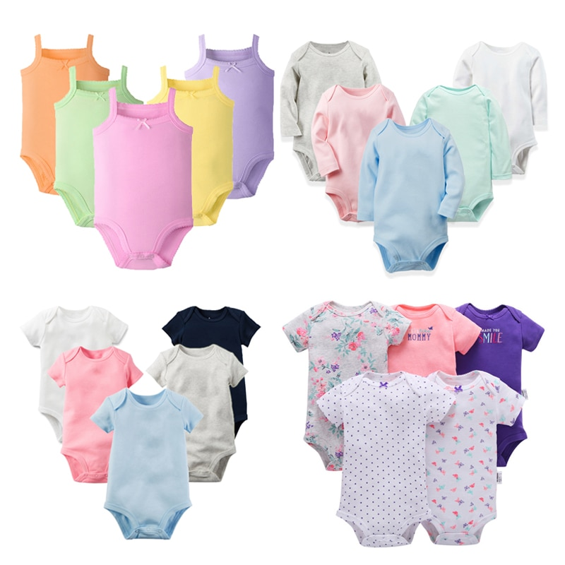 5 unids/lote de ropa de bebé, mono de ropa infantil para bebés, pelele para niñas, Pelele de algodón suave para bebés recién nacidos, peleles para niños de 3 a 24M