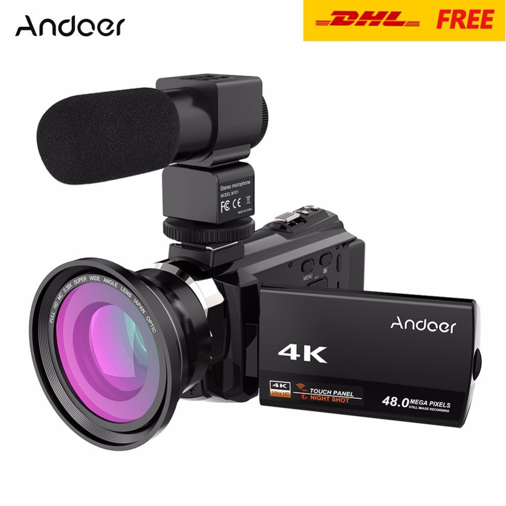 Andoer 4K 1080P 48MP WiFi Digital videocámara grabadora con 0.39X gran angular Macro lente micrófono novatek 96660 Chip