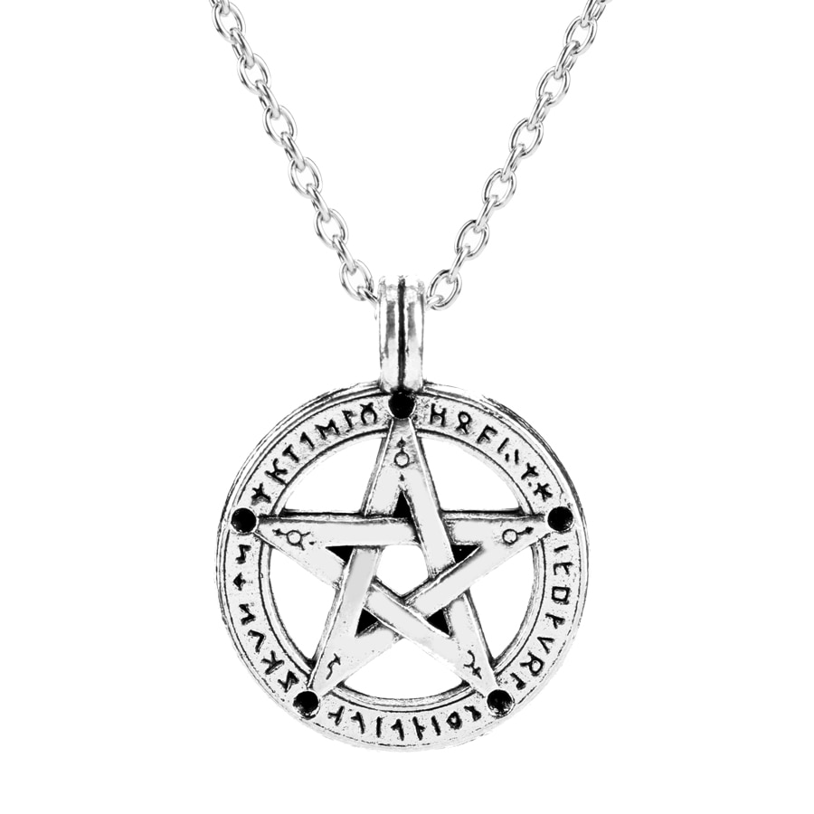 HANCHANG Jóias Pentagrama Sobrenatural Hebraico Charme Colar Pingente Pentagrama Estrela Cadeia Amuleto Talismã Colar Presente para Homens