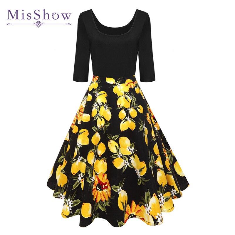 MisShow verano negro Vestidos Vintage Floral impreso fiesta mujeres algodón media manga 4XL Vestidos Lolita Vestidos