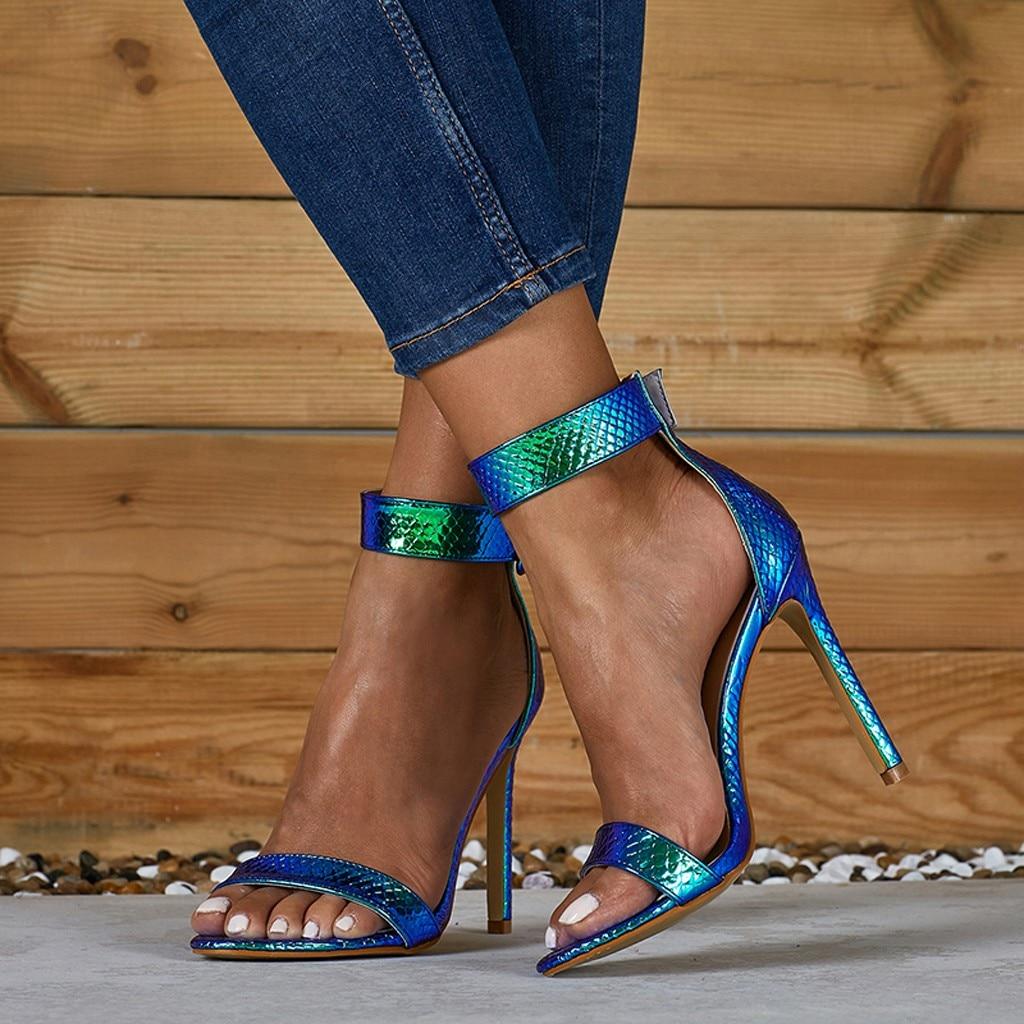Sandalias de tacón de sexis aguja para mujer, tacones altos, zapatos con correa con hebilla de verano, sandalias de cuero con punta abierta a la moda para chicas, talla grande para Club