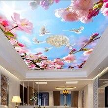 Papier peint Mural 3D personnalisé   Belles fleurs Pigeons, bleu ciel suspendu, pour plafond, décoration de maison moderne, papier peint pour salle de séjour