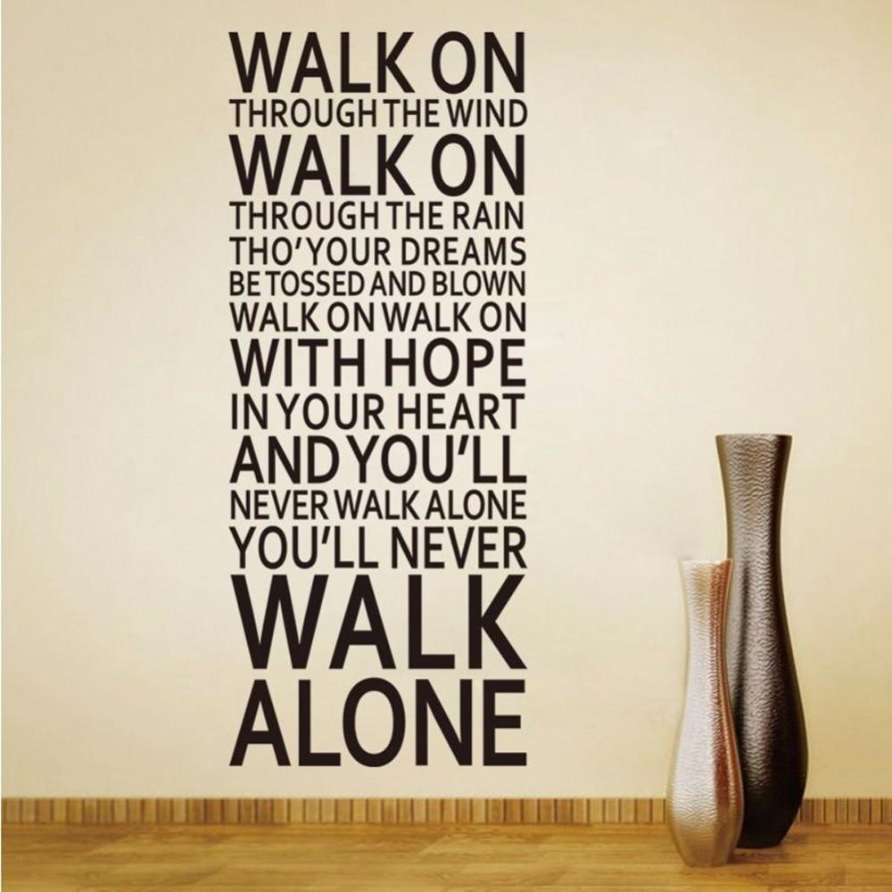Наклейки большого размера-цитаты на стену, вы никогда не будете ходить самостоятельно, Виниловая наклейка на стену, домашний декор, съемная ...