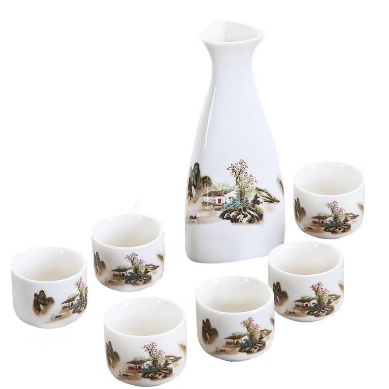 7Pcs/Set Ceramics Sake Set Japanese Flagon Liquor Pot Cup Home Kitchen Cup Drinkware Vintage Spirits Hip Flasks Creative Gifts