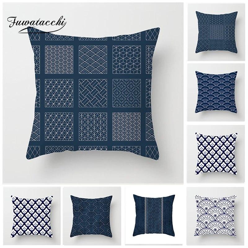 Fuwatacchi funda de cojín de onda azul cuadrado de pintura geométrica funda de almohada decorativa para el hogar de estilo étnico funda de almohada para asiento de sofá