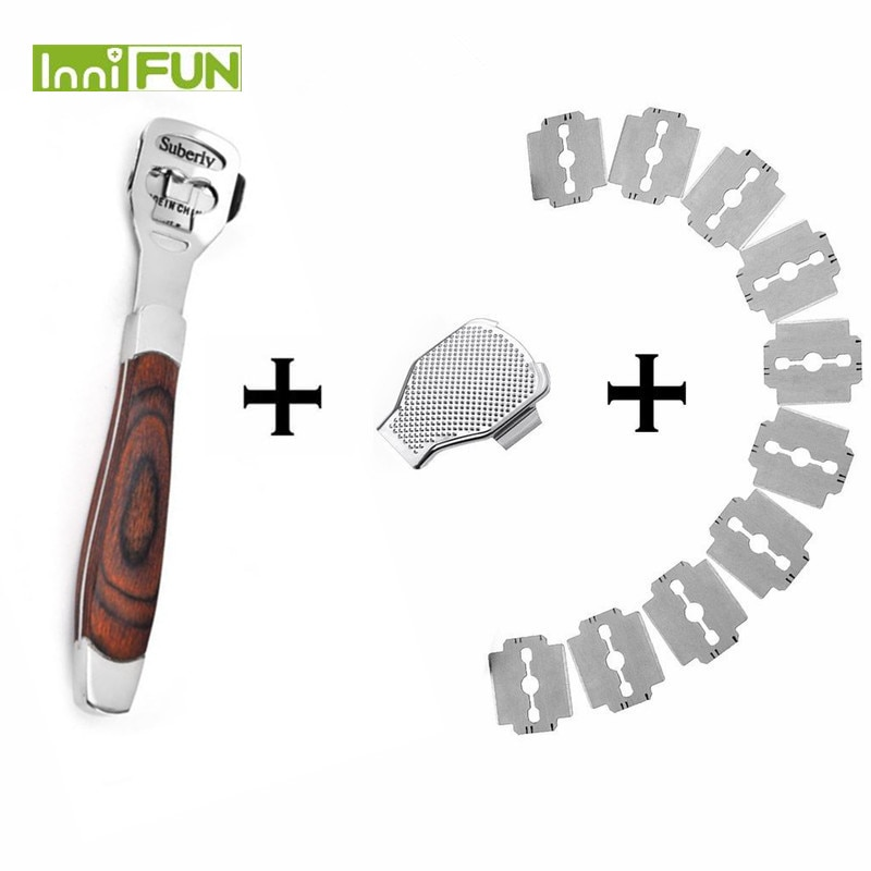 NEW Peach wood Foot Skin Shaver Corn Cuticle Cutter Remover Rasp Pedicure File Foot Callus 10 Blades