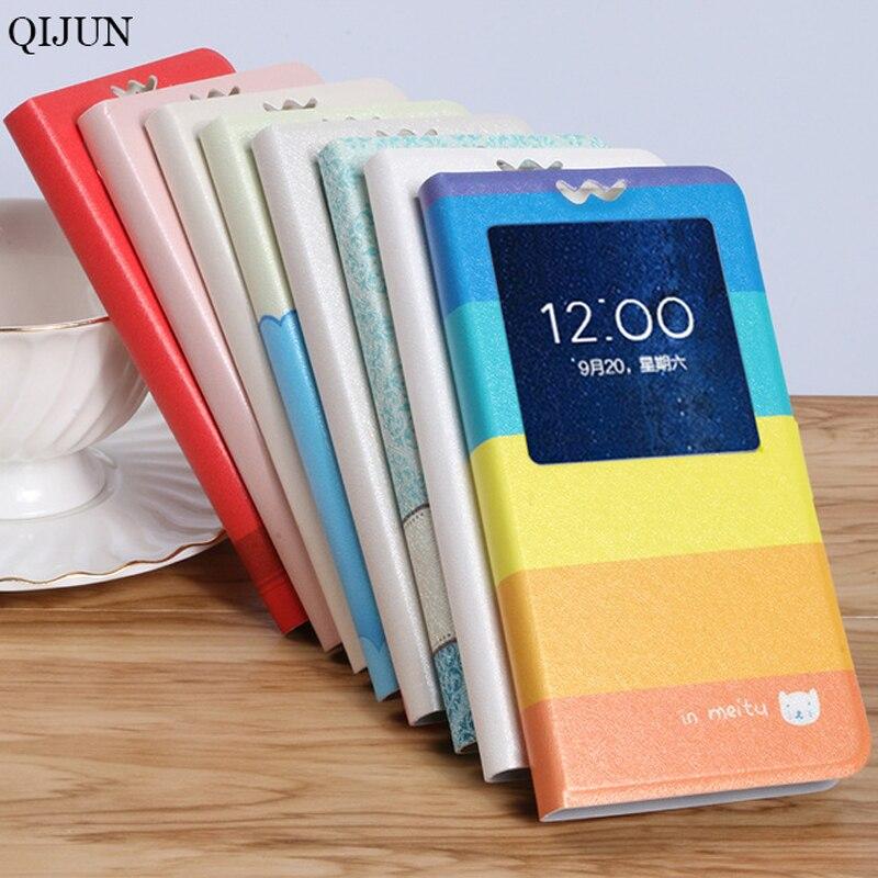 Funda QIJUN capa para Sony Xperia C S39H c2305 c2304 Dual c 2305 2304 tapa magnética de dibujos animados Ventana de cuero PU funda para teléfono