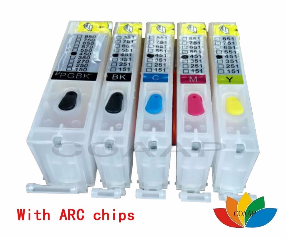 5 x Cartucho de Tinta Recarregáveis PGI CLI 651 XL 650 para Canon MX726 MX926 IP7260 MG5460 MG6360 com chips ARC