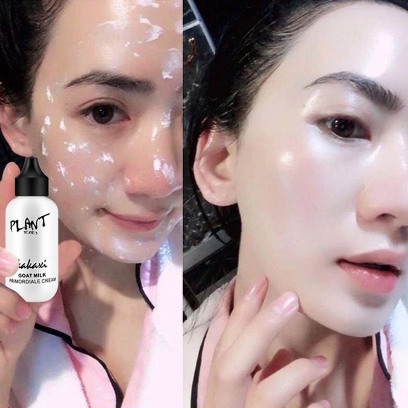 Professional Lazy Face Foundation Cream Goat Milk Revitalizing Full Coverage Waterproof Makeup Base
