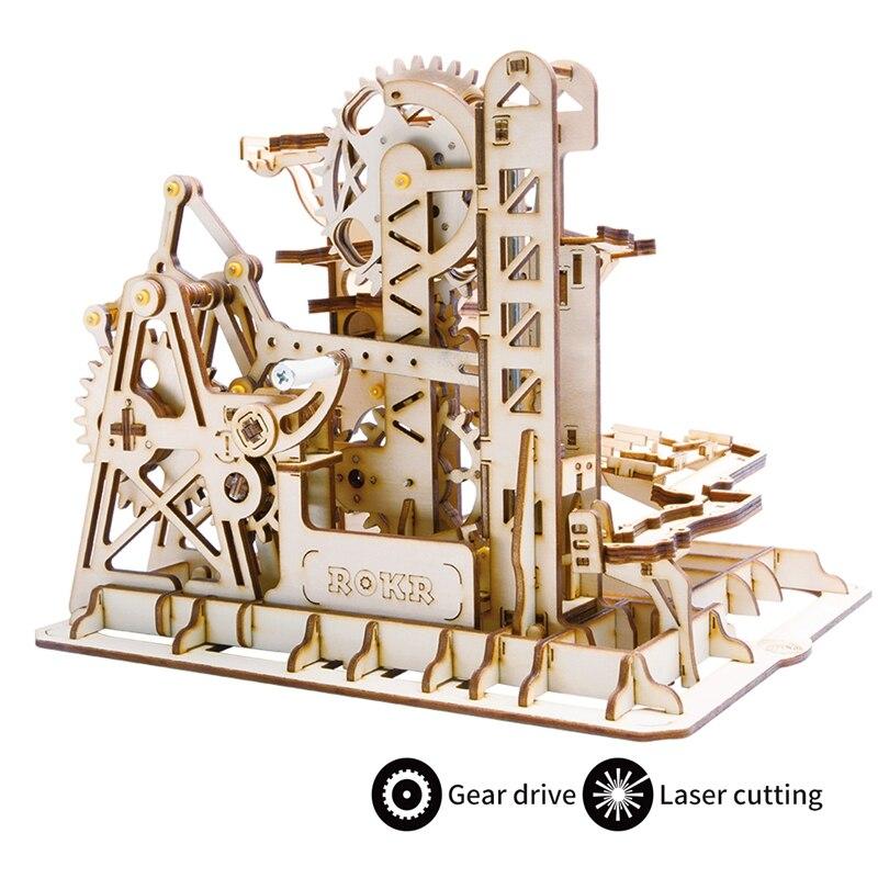 Robotime DIY водоворот Coaster   Деревянная модель строительные наборы сборные игрушки   4 вида мраморная игра для детей для взрослых LG