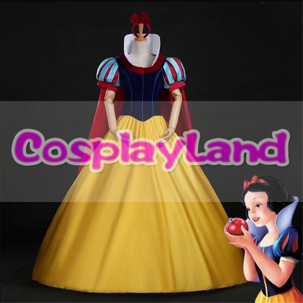 Костюм Белоснежки на заказ, костюмы на Хэллоуин для взрослых, костюм принцессы Белоснежки, карнавальный костюм, повязка на голову, плащ, Бел...