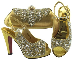 Most fashion African high heel sandal shoes and evening handbag set nice matching for evening dress FGT002 in gold