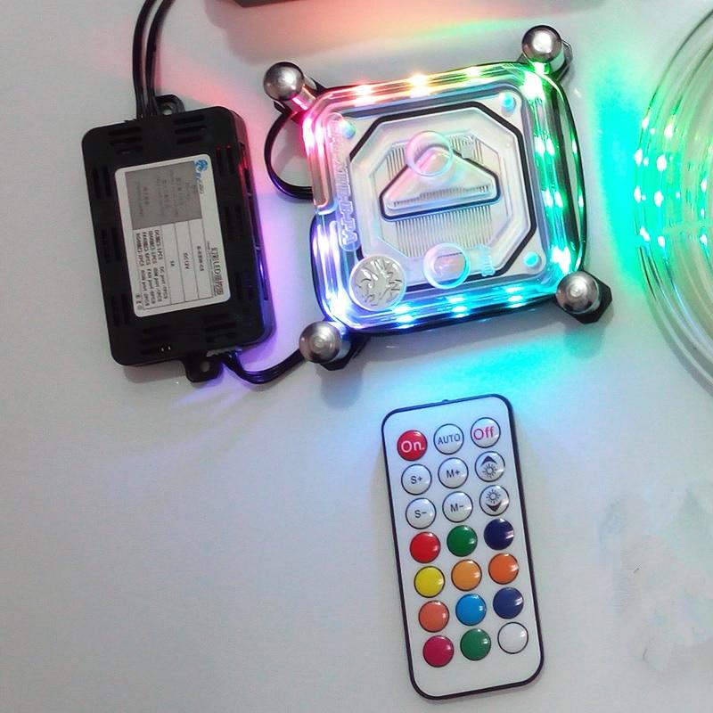 For Intel LGA i3/i5/i7/115X Computer CPU transparent water cooling cooler radiator block 2018 RBW Magic Colorful lights