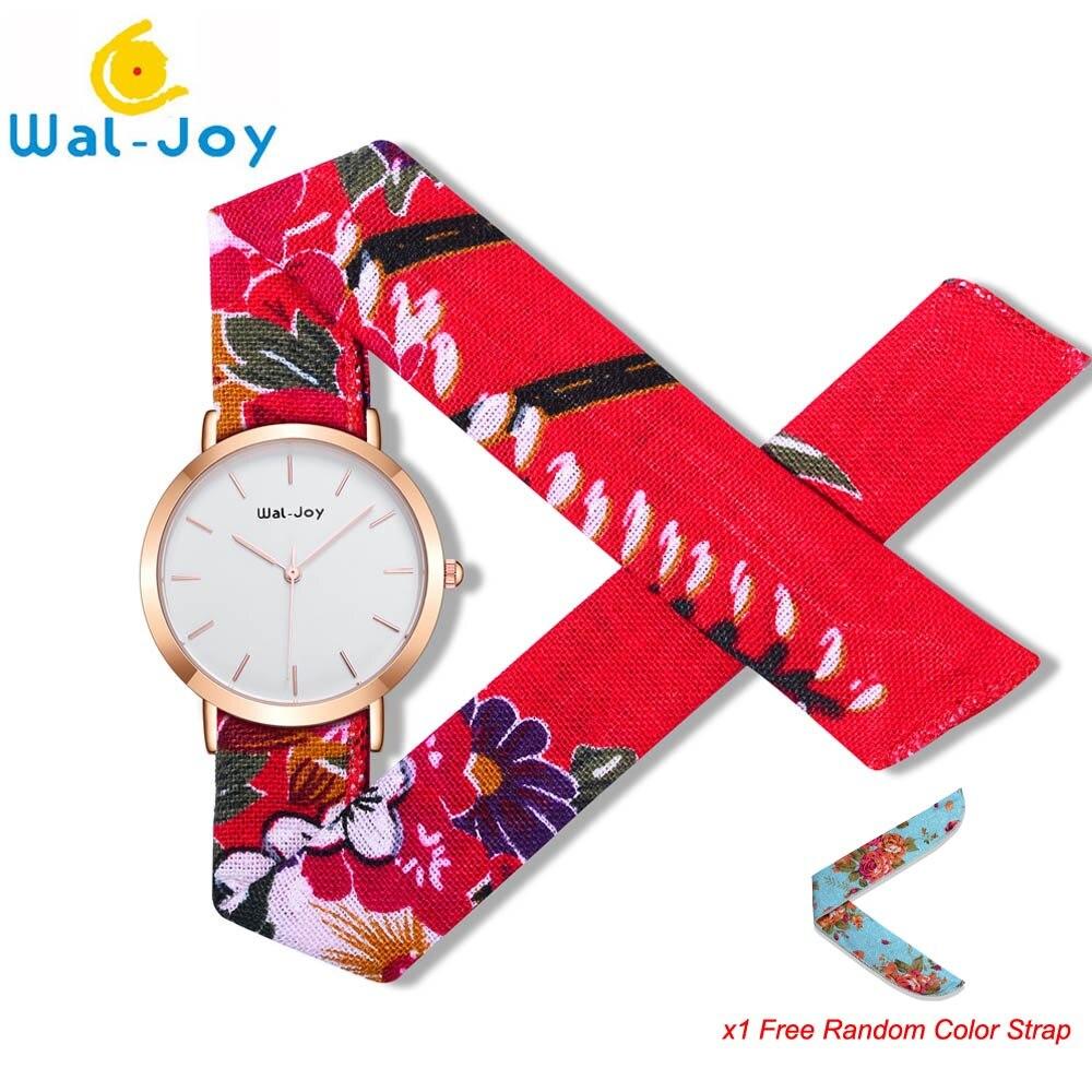 Wal-Joy 2018 новые Брендовые женские тканевые наручные часы простые маленькие очаровательные Цветочные тканевые женские водонепроницаемые ква...