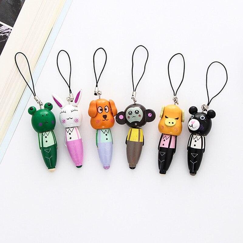 36 unids/lote de dibujos animados Animal bolígrafo de punta de bola de madera Mini cerdo oso perro portátil bolígrafo papelería regalo material de oficina de la escuela suministros