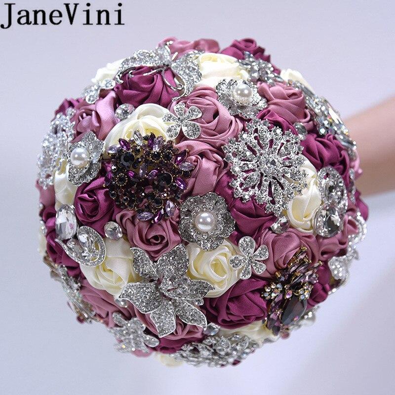 Букет невесты JaneVini с блестящими кристаллами, букет из сатина с розами, букет из искусственных бусин