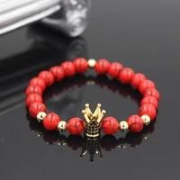 black cz king crown charm bracelets elastic adjust men women natural red howlite stone beads for women men jewelry