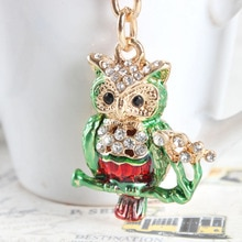 Lovely Mini Owl Branch Cute Crystal Charm Purse Handbag Car Key Keyring Keychain Party Wedding Birthday Gift
